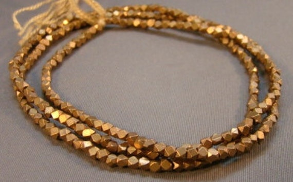 Resserved For Marjorie: Extra  Small  Natural  Brass  Faceted  Cube  Beads