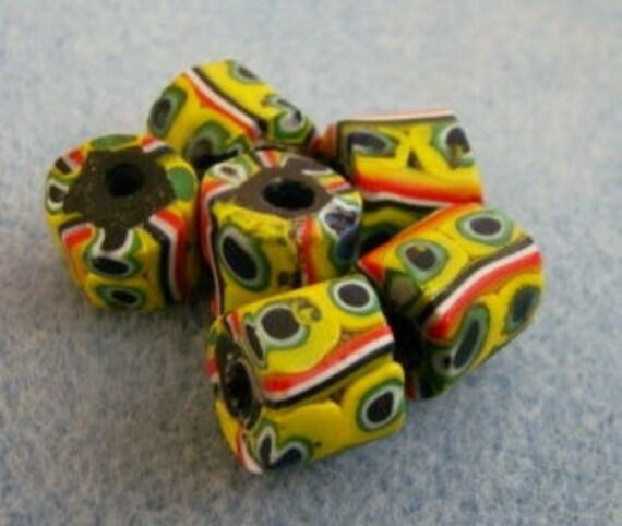 6  Bright  Multicolored  Millefiori  Venetian  Trade  Beads