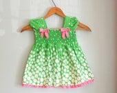 RIBBON and RUFFLED Green Polka Dot Girls Summer Dress....size 18 months.....girls. kids. children. green. dots. pink. dainty. girls dress