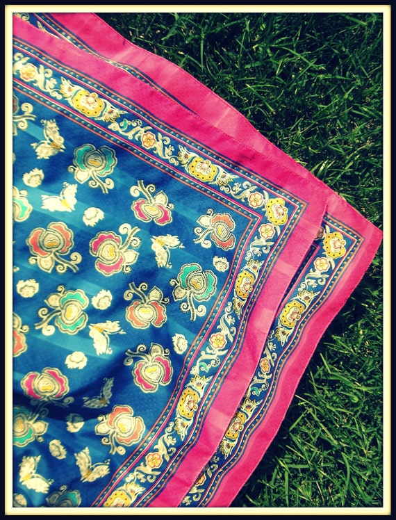 80s Vintage PINK FLORAL and Royal Blue Fancy Scarf .....classy fun....hot pink. floral. 80s accessories. mod