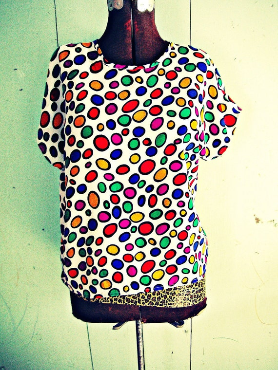 70s Vintage RAINBOW POLKA DOTS Retro Blouse....size large...........rainbow. colorful. bright. polka dots. mod