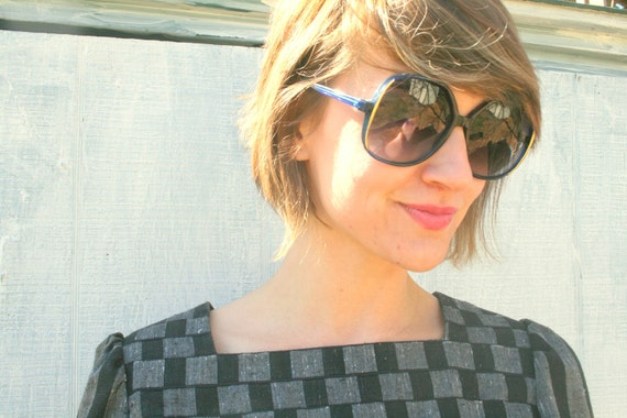 80s Vintage GOLDEN BLUE SUNGLASSES....retro accessories. big glasses. mod. royal blue. killer eyewear. 80s accessories