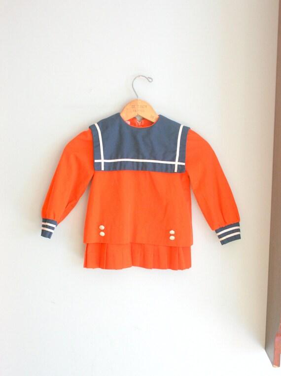 60s Vintage ORANGE SAILOR Ruffled Girls Dress....size 4T.....kids. children. girls. navy. sailor. ship. school girl. mod. retro