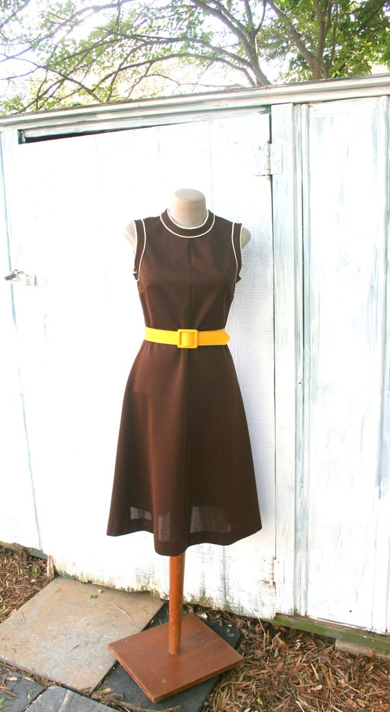 70s MOD Vintage Lady Carol 2 Piece Dress Jacket Set.....small to medium....mod. striped. lady carol. brown. classic. twiggy