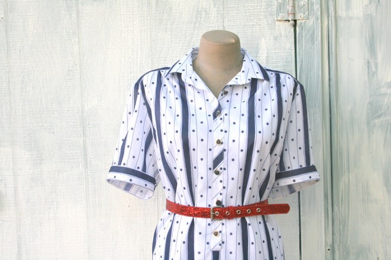 1960s POLKA DOTS Dress / Striped Dress / Nautical / Cuffed Sleeves / 60s Dress /  Large to Xlarge Dress