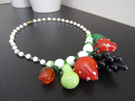 reserved for eileen - 1950's-60's fruit salad necklace glass fruit grapes strawberries novelty fruit necklace