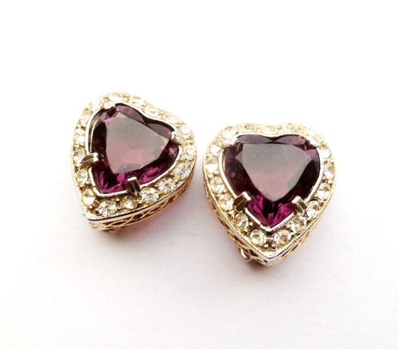Vintage Purple Heart Earrings by Leru