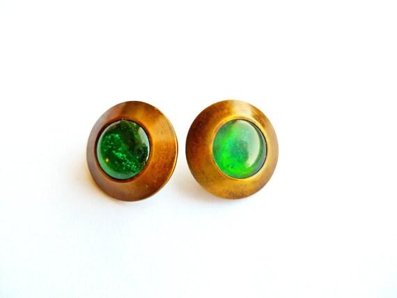 """Antique """"Paris"""" Green Poured Glass Buttons"""