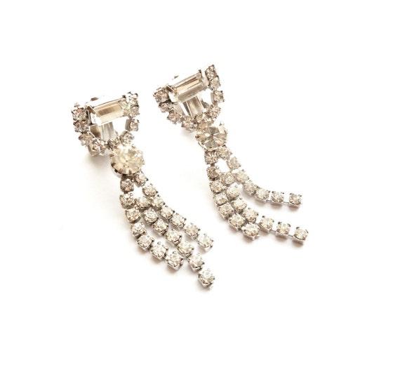 Vintage Rhinestone Dangle Earrings With Fringe - Wedding Jewelry