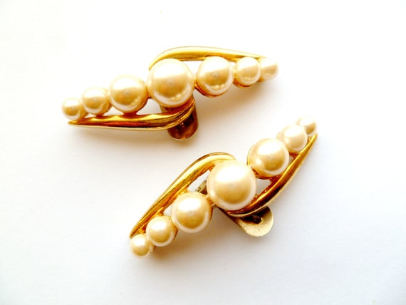 Vintage Shoe Clips with Faux Pearls by S.G. D'OR