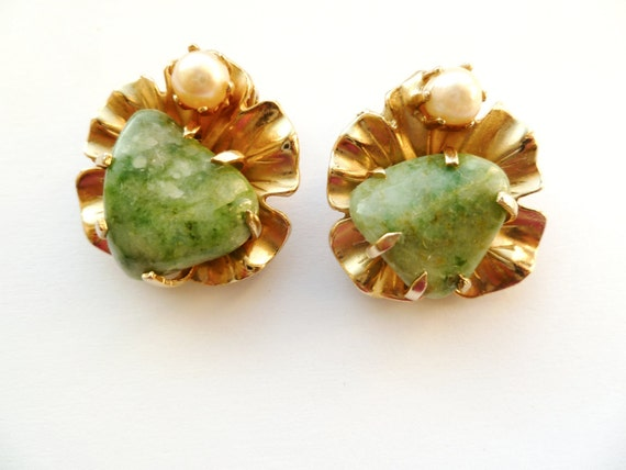 Vintage Gold Tone Earrings with a Green Stone