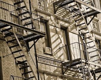 Fire Escapes in New York City 8x10 Black and White Fine Art Print