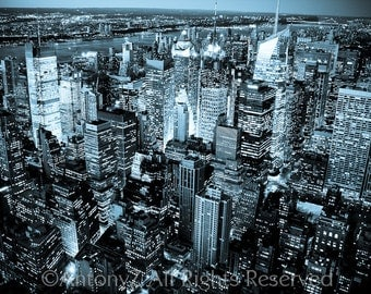 New York City Skyline at Night NYC Fine Art Print - 8x10 Black and White