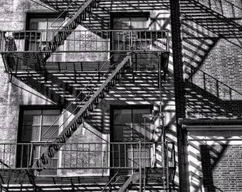 Fire Escape Shadows in New York City 8x10 Black and White Fine Art Print