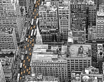 Looking Down on the Taxis In New York City Fine Art Print - 8x10 Black and White