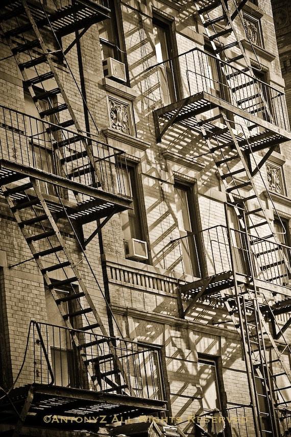 Fire Escape New York City 1940s : Fire escapes in new york city black and white fine art