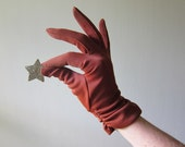 Wrist Length Brown Dress Gloves with Ruching