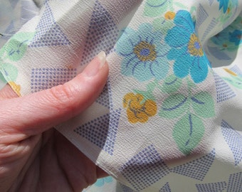 Pale Mint Crepe Fabric with Flowers, Squares and Triangles, Vintage