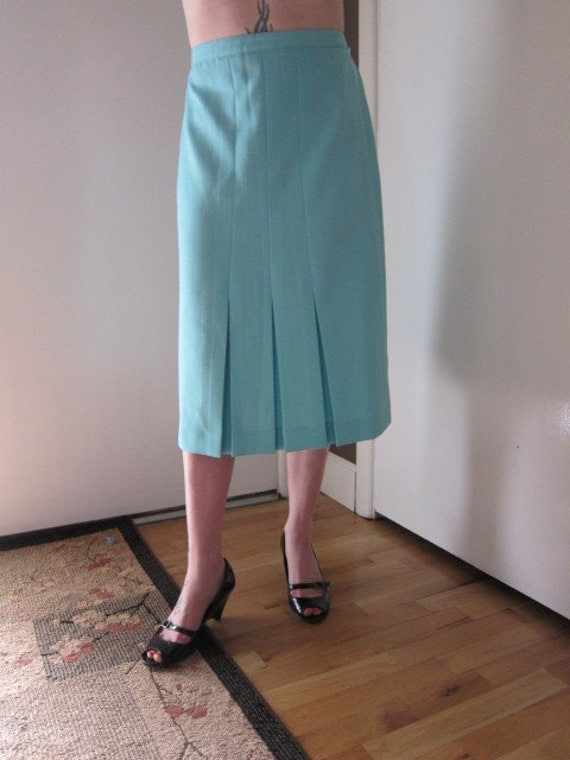 Light Blue Front Pleat Skirt, Vintage