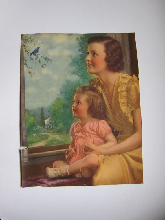 Vintage Mother and Daughter Print, Blue Bird Singing out the Window