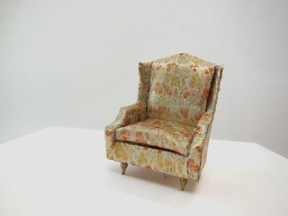 1964 Brocade Salon Wing Chair, Petite Princess Fantasy Furniture, 3/4 scale