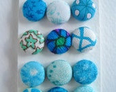 Teal Fabric Covered Buttons OR Brads