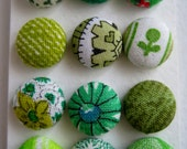 Green Fabric Covered Buttons Brads OR Flat backs