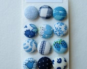 Blue Fabric Covered Buttons OR Brads