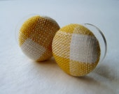 Preppy Yellow Gingham Button Earrings