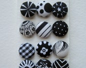 Black and White Fabric Covered Buttons OR Brads