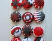 Red Gray and White Fabric Covered Shank Buttons OR Brads OR Flat Backs
