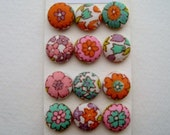 Vintage Flower Fabric Covered Buttons, Brads, OR Flat Backs