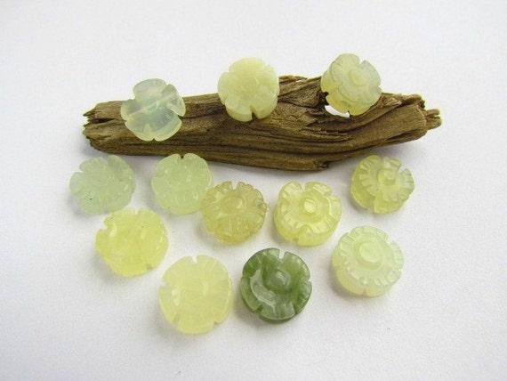 Carved Jade Flower Stone Beads