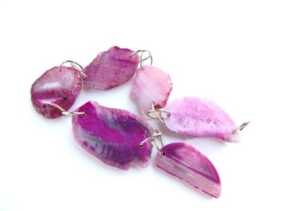 Gorgeous Pink cut Mineral Beads , Pendants , geo slice , geode slice