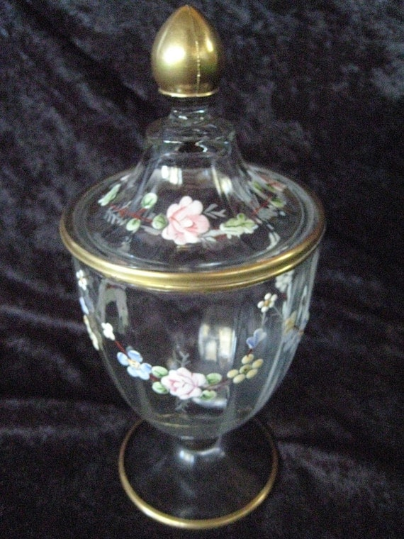 Beautiful Vintage Hand Painted Glass Gold Trim Candy Jar Vase - LOOK