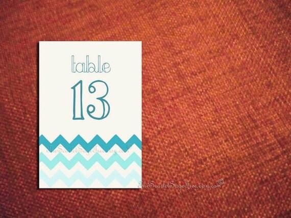 DIY PRINTABLE Chevron Chic Table Numbers DIY Wedding Decor Escort Place Card Menu Seating Sign Setting Modern Fun Beach Template Design Pdf