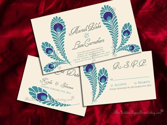 Peacock Wedding Invitations Template: Items Similar To PRINTABLE ROYAL PEACOCK Invitation Suite