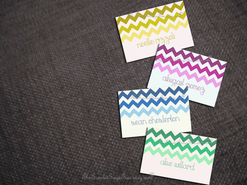 Diy Printable Chevron Chic Place Cards Diy Wedding Decor