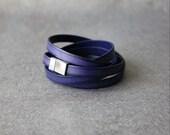 Thin Gradation Leather Bracelet(VIOLET BLUE)