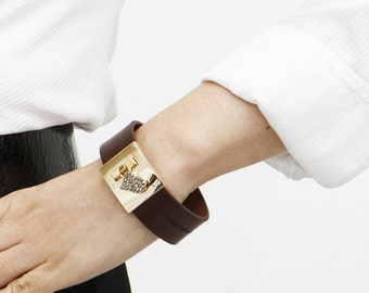Jewel Heart Closure Leather Bracelet(T.Moro)