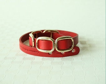 Buckle Leather Bracelet(Red)