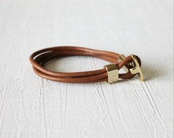 18k Gold Plated T closure Leather Wrap Bracelet (Camel)