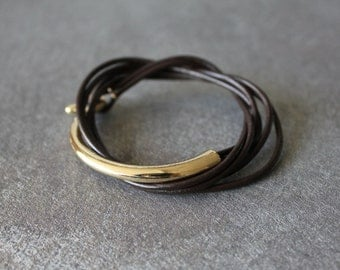 Leather Wrap Bracelet with Gold Metal Ornament(t.moro/dark brown)