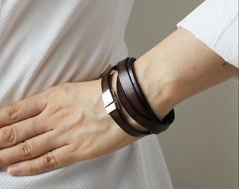 Thin Gradation Leather Bracelet(DARK BROWN)
