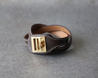 Equestrian Buckle Ornament Leather Bracelet(DARK BROWN)