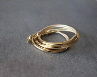 Deep Gold Plated Leather Bracelet (Set of 3, PEARL BEIGE)