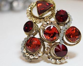 Red Swarovski Crystal Christmas Brooch V
