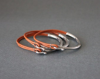 Rodium Silver Plated Leather Bracelet(Set of 3, Orange)