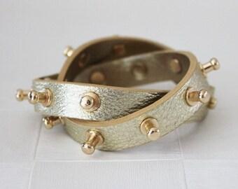 Bolt Stud Leather Bracelet(Gold)