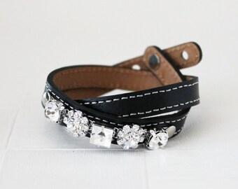 Crystal Flower Embellished Leather Bracelet(Black)